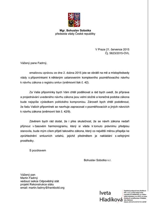 Dopis Bohuslava Sobotky k registru smluv